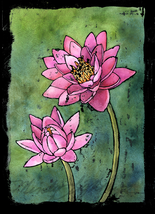 Pink Waterlilies- ©2014 Mindy Lighthipe Gouache Ink Resist
